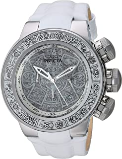 Men's Subaqua Stainless Steel Quartz Watch with Leather Strap, White, 30.5 (Model: 28242)
