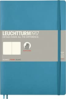 Leuchtturm1917 Softcover B5 Plain Notebook- 121 Numbered Pages, Nordic Blue
