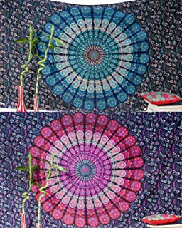 Folkulture Set of 2 Boho Wall Tapestry or Bohemian Mandala Tapestry Wall Hanging, Hippie Indian Beach Blanket or Mandala Tablecloth, Large Yoga Mat for Meditation - Twin Size, 55x85, Blue and Pink