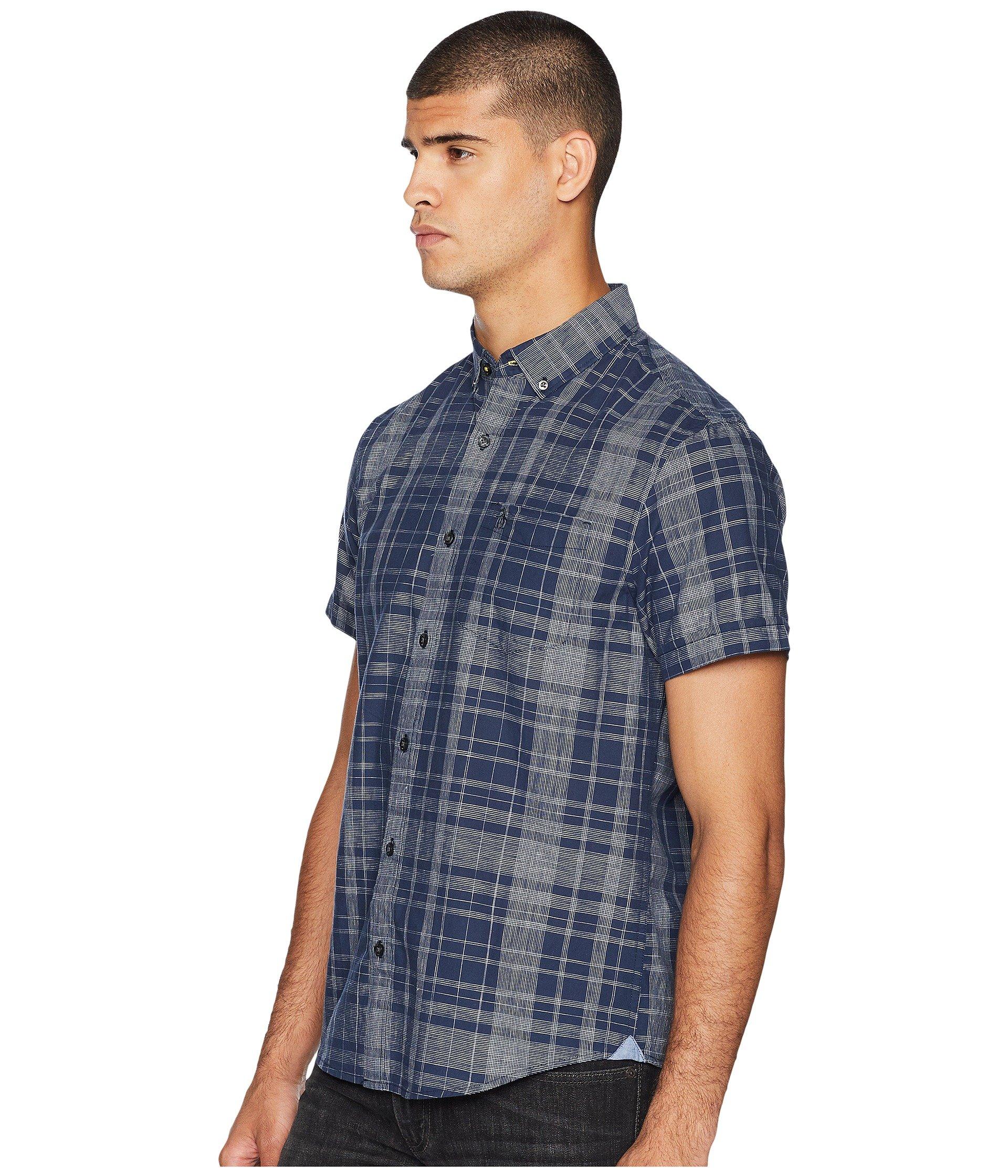 Sapphire Sleeve Short Shirt Linen Original Plaid Dark Penguin q0vU4U