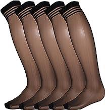 5 أزواج من جوارب Spandex المصنوعة من النايلون الشفاف والطويل للرجال فوق العجل