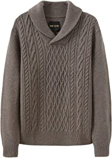 Fancy Stitch Men's Soft Marino Wool Shawl Collar Cable Knitted Sweater