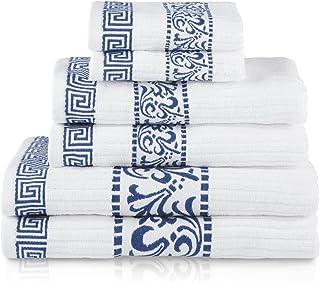 Blue Nile Mills Athens 100% Cotton Super Soft 6-Piece Towel Set 6 Piece Set Blue BNM ATHENS 6PC SET NB