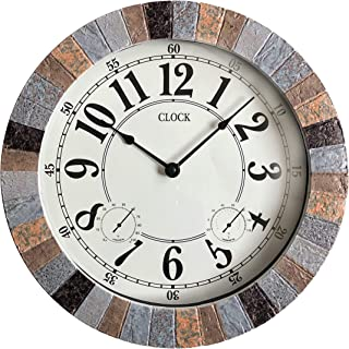 BACKYARD EXPRESSIONS PATIO · HOME · GARDEN 914932 Indoor/Outdoor Clock, Gray, Black, Brown