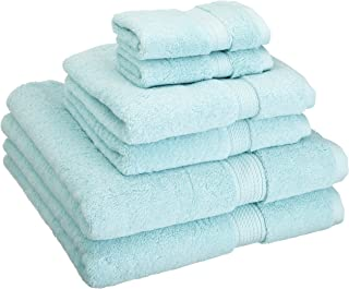 Superior 900 GSM Luxury Bathroom 6-Piece Towel Set, Made Long-Staple Combed Cotton, 2 Hotel & Spa Quality Washcloths, 2 Hand Towels, and 2 Bath Towels - Sea Foam