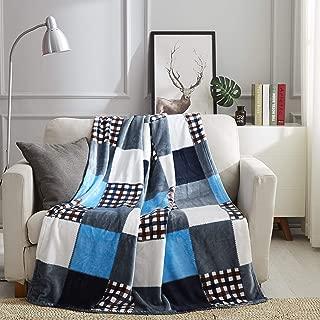 Tache Blue Lake Farmhouse Super Soft Fleece Plaid Patchwork Throw Blanket, 63x87 Twin