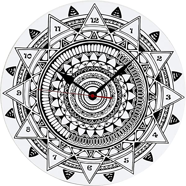 Mandala Art 15 Inch Wall Clock Large Round Modern Black And White Decorative Patterns Home Living Room Kitchen Bedroom Silent Battery Operated Non Ticking Design Mandala Art 1
