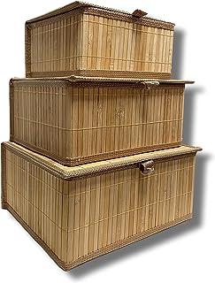 Cflagrant® Lot de 3 Boites/Paniers de Rangement en Bambou intérieur en Tissus (3 boites avec couvercles)
