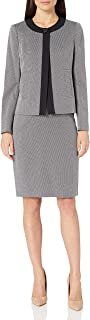 Women's 1 Button Two Tone Novelty Slim Skirt Suit
