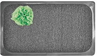 mDesign Loofah Non-Slip, Quick Drying Cushioned Mat with Suction Cups for Bathroom Shower or Tub - Gray