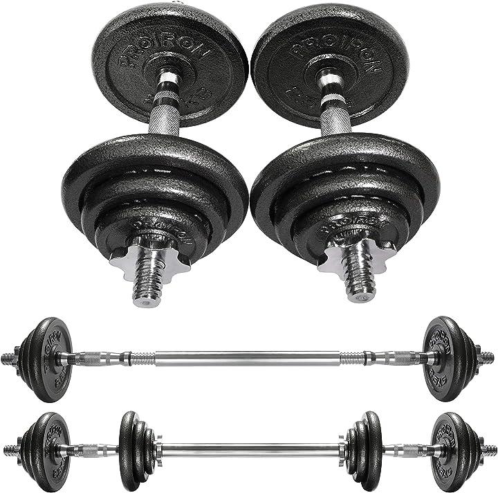 Proiron ghisa 20kg manubri regolabili set con prolunga barra della maniglia perfetta per body building PRKCAS20K
