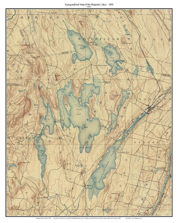 Belgrade Lakes - 1899 Old Topographic Quantity limited USGS Spasm price Composite Custom Map