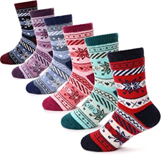Boys Girls Wool Socks Soft Warm Thick Thermal Cotton For Kid Child Toddler Winter Crew Socks 6 Pack