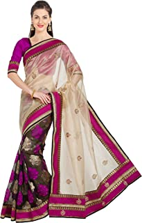 Viva N Diva Sarees for Women`s Embroidery Saree with Un-Stiched Blouse Piece,Free Size