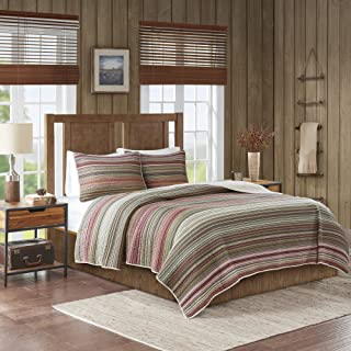 Woolrich Willard Quilt Reversible Solid 100% Cotton Stripes Printed Oversized Soft Breathable Down Alternative Pre-Washed All Season Piping Sham Coverlet Bedding-Set, Full/Queen, Multi-Color
