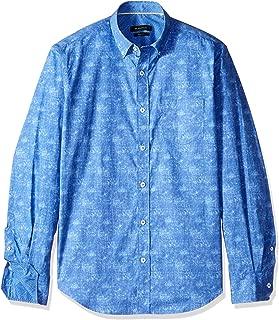 Bugatchi Men's Small Hidden Button Collar Shaped Fit Woven Shirt