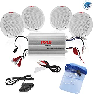 """Pyle Marine Receiver Speaker Kit - 4-Channel Amplifier w/ 6.5"""" Speakers (4) Waterproof Poly Bag 3.5mm Jack RCA Adaptor for MP3/iPod & Volume Gain Remote Control & Power Protection Circuitry - PLMRKT4A"""