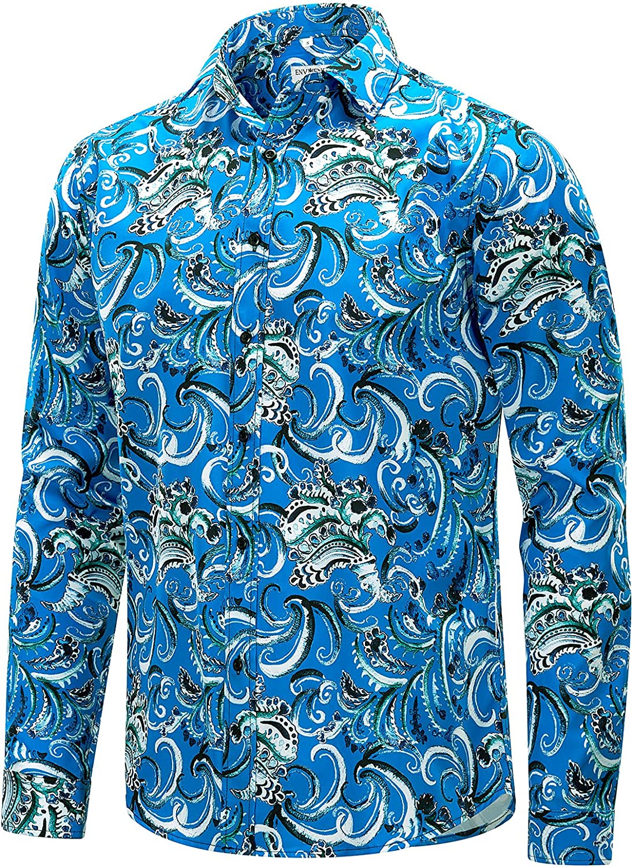 ENVMENST Men's Long Sleeve Hawaiian Shirt Max 61% OFF Printed 1 year warranty Casual Flower