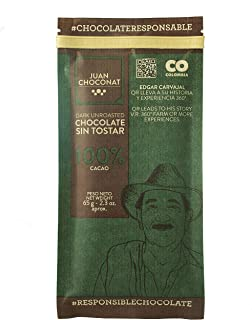 Juan Choconat Dark Chocolate (100% Unroasted Cacao) - Premium Non-GMO Organic Dark Chocolate from Colombia ...