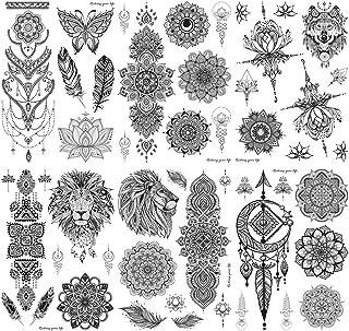 HOWAF 6 Hojas Tatuajes Temporales Mujer Brazo Tatuajes Falsos Adultos Temporales Mujer lobo flor Negro Tatuaje Temporal Niños