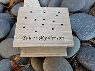 Custom made music box engraved with you're my person and some stars playing your choice of song, created by simplycoolgifts