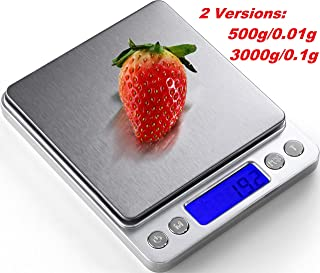 Digital Kitchen Scale, 3000g/ 0.1g Mini Pocket Jewelry Scale, Electric Scale for kitchen, 2 Trays, 6 Units, Auto Off, Tare, PCS Function, Stainless Steel, Batteries Included