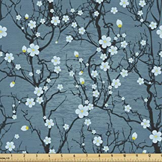 Lunarable Floral Fabric by The Yard, Sakura Tree Branches Pale Japanese Cherry Blossom Spring Form, Decorative Fabric for ...