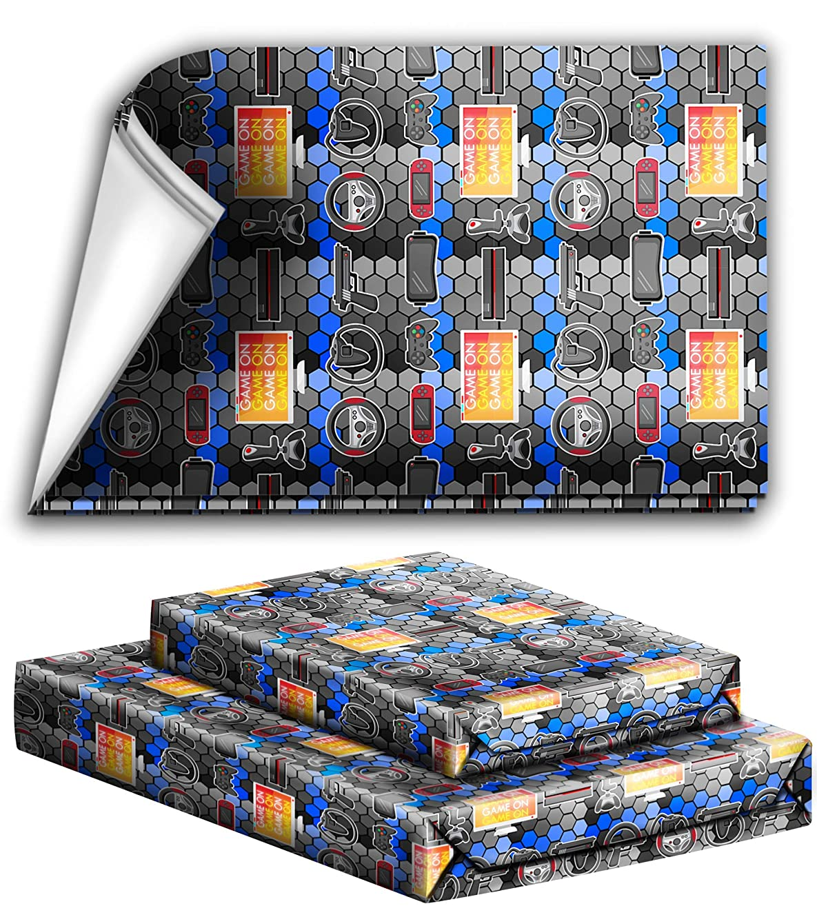 Video Gaming Game On Birthday Party Holiday Wrapping Paper Gift Wrap Premium Quality Paper