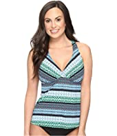 Jantzen - Geo Graphic Stripe D/DD Cup H-Back Tankini Top