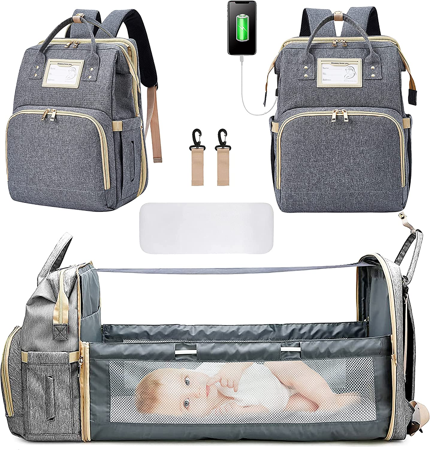 Diaper Bag Backpack, 3 in 1 Multifunction Travel Maternity Baby Nappy Changing Bags with Portable Changing Station Large Capacity Nappy Bag and Convenient USB Charge Port