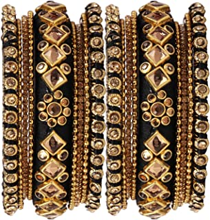 Accessorisingg Traditional Indian Silk Thread Bangles with Kundan Design Wedding Parties for Women Set of 18