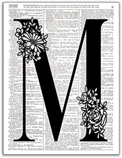 M - Monogram Wall Decor, Letter Wall Art, Dictionary Page Art Photo Print, 8x10, UNFRAMED