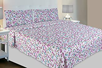 haus & kinder Red & White Contemporary Collection, 100% Cotton, 144 Thread Count, Double Bedsheet with 2 Pillow Covers (Blue & Purple)