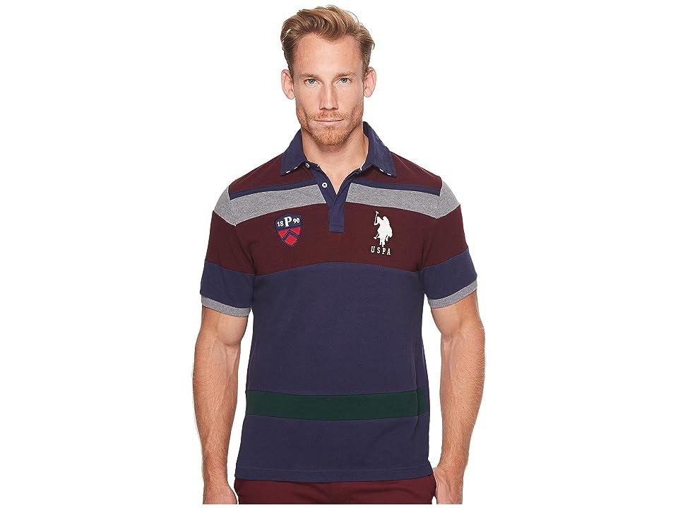U.S. POLO ASSN. Classic Fit Color Block Short Sleeve Pique Polo Shirt (Classic Navy) Men