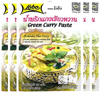 Lobo Thai Green Curry Paste - No MSG, No Preservatives, No Artificial Colors (Pack of 5)