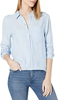 Marchio Amazon - Daily Ritual Women's Brushed Flannel Long-sleeve Popover Tunic Long Sleeve Button Down Shirt