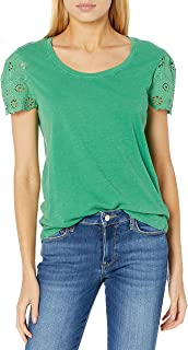Lucky Brand Women's Short Crew Neck Eyelet Sleeve Tee