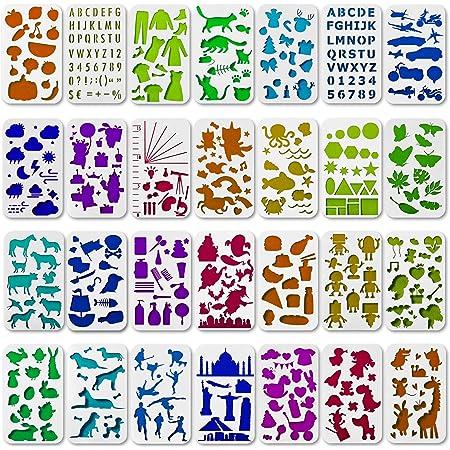 Gem/üse und Obst Ai-life 6 St/ück Bullet Journal Schablonen Kunststoff Vorlagen DIY Malerei Zeichenschablonen f/ür Planer//Notebook//Tagebuch//Scrapbook und Craft Projekte