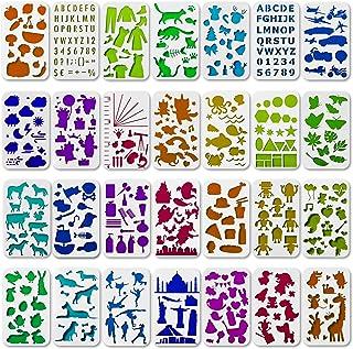 Tritart Lot de 28 pochoirs en plastique I Motif pour Bullet Journal & Album photo ou cartes cadeaux I Accessoires de scrap...