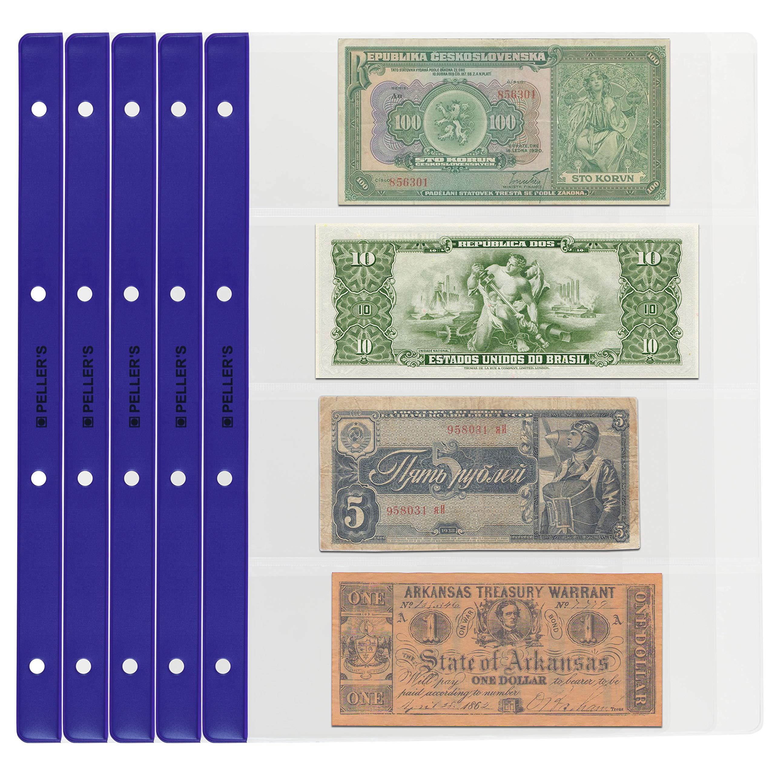 PELLERS 10 Hojas de colección, Cada Página, para Billetes y cheques. Fundas para Álbum, Extra Transparente, Modelo XL: 4 Departamentos 219mm X 75mm: Amazon.es: Hogar