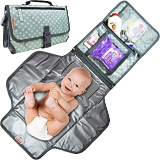 Cute Kid Portable Changing Pad   Diaper Changing Clutch   Changing Station Kit Waterproof for Boys and Girls   Extra Large Diaper Bag & Changing Mat in One with 3 Pockets   Easily Wipes Clean! (Green)