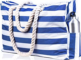 "Beach Bag XXL (Huge). 100% Waterproof. L22""xH15""xW6"" (56x38x15cm). Rope Handles, Top Zipper, Outside Pockets. Shoulder Beach Tote has Phone Case, Built-in Key Holder, Bottle Opener (Dark Blue)"