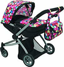 Babyboo Deluxe Twin Doll Pram/Stroller Gumball & Black with Free Carriage Bag (Multi Function View All Photos) - 9651A