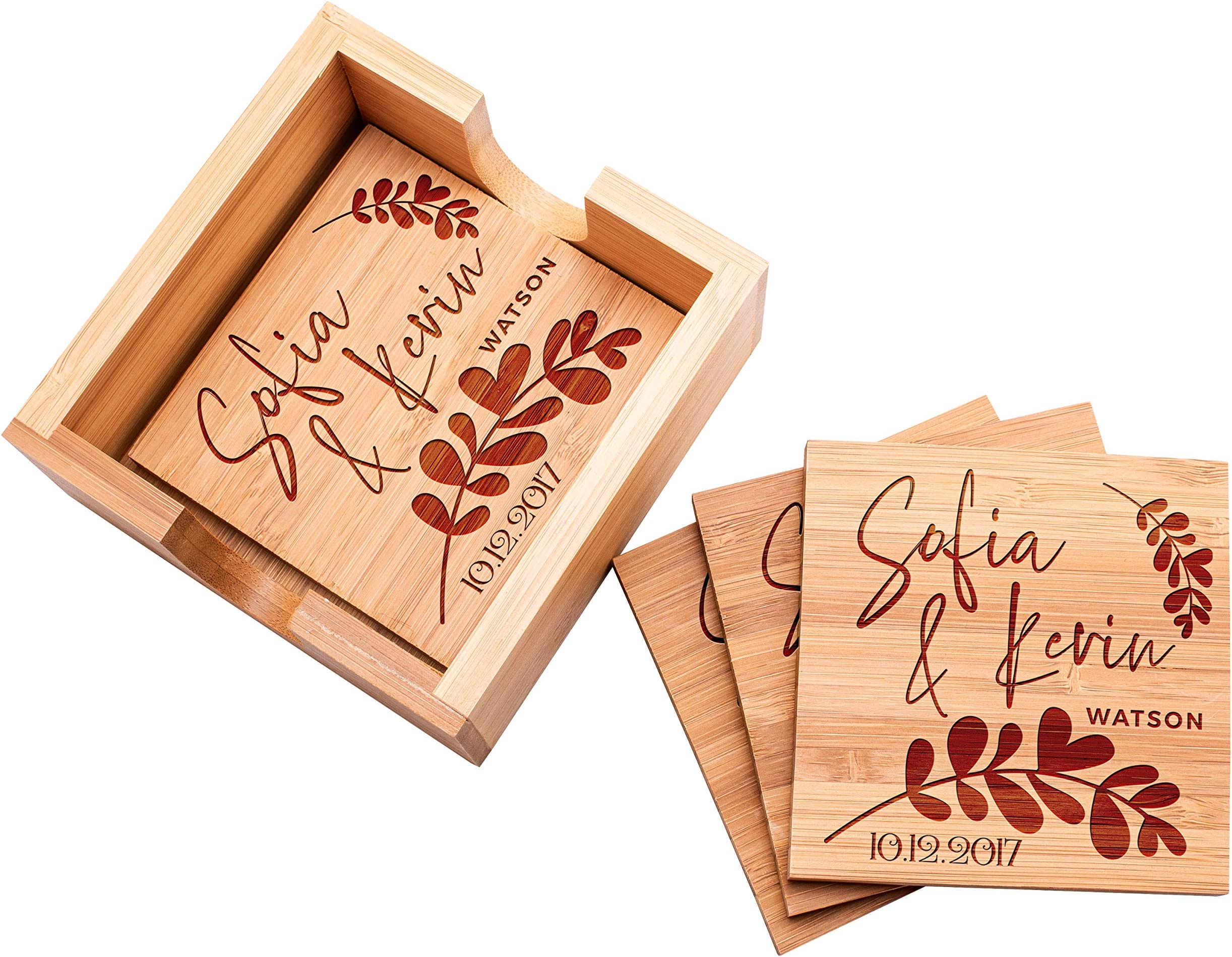 Home Decor House Warming Gift Laser Engraved Bamboo Coasters Engraved Gifts Personalized Gifts