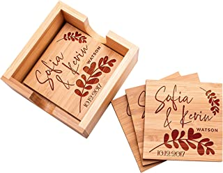 Be Burgundy - Personalized Name Coaster with Holder - 4 pcs Bamboo 4