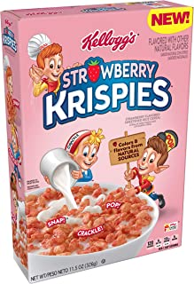 Rice Krispies Kellogg's Strawberry Krispies, Breakfast Cereal, A Good Source of 11 Vitamins and Minerals, 11.5oz Box(Pack of 8)