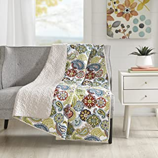 Mi Zone Tamil Luxury Quilted Throw Ivory 6070 Premium Soft Cozy Microfiber For Bed, Coach or Sofa