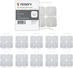 "reserv 40 Pack of 2"" x 2"" Premium Re-Usable Self Adhesive Electrode Pads for TENS/EMS Unit, Fabric Backed Pads with Premium Gel (White Cloth and Latex Free) (1 Pack (40 electrodes))"