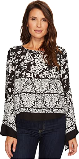 Roper - 1372 Black and White Floral Blouse