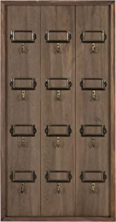 Kate and Laurel Farmhouse 12 Key Holder Wood Wall Plaque, Rustic Brown